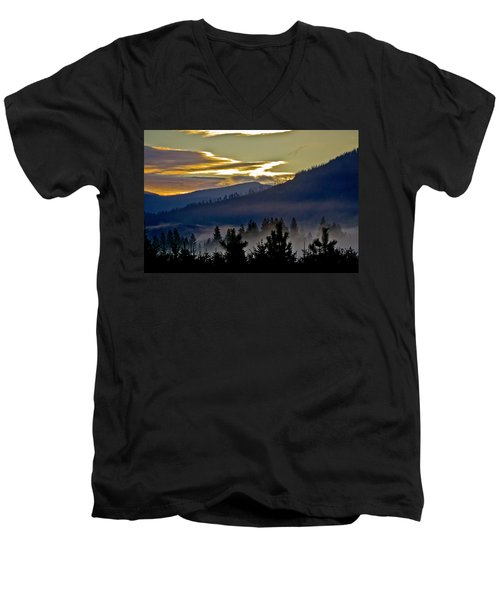 Men's V-Neck T-Shirt featuring the photograph Sunrise And Valley Fog by Albert Seger