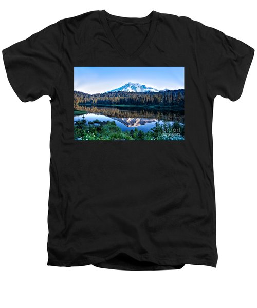 Sunrise At Reflection Lake Men's V-Neck T-Shirt