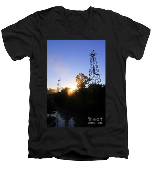 Sunrise On The Sabine Men's V-Neck T-Shirt by Kathy  White