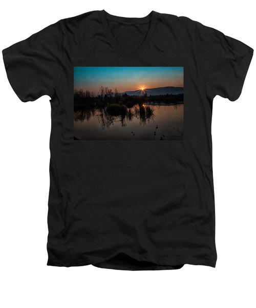 Sunrise Over The Beaver Pond Men's V-Neck T-Shirt