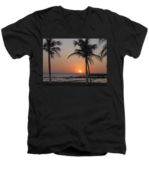 Men's V-Neck T-Shirt featuring the photograph Sunset by David Gleeson