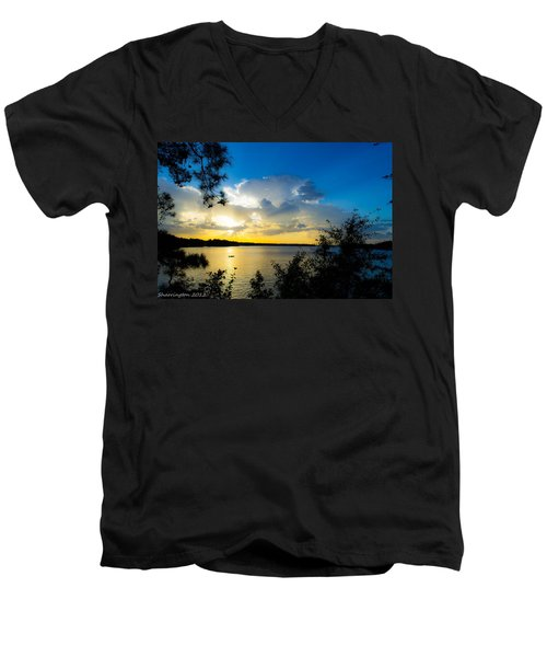 Sunset Fishing Men's V-Neck T-Shirt by Shannon Harrington