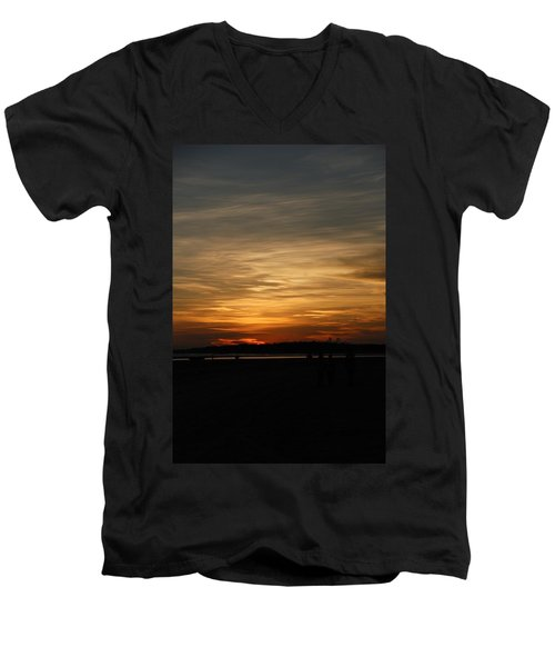 Men's V-Neck T-Shirt featuring the photograph Sunset In Pastels by Fotosas Photography