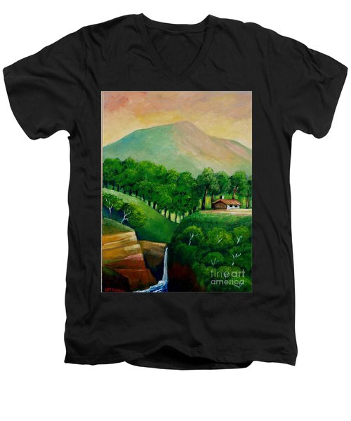 Sunset In The Mountain Men's V-Neck T-Shirt