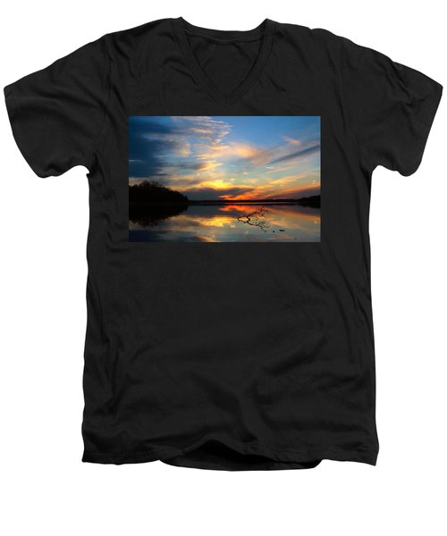 Sunset Over Calm Lake Men's V-Neck T-Shirt