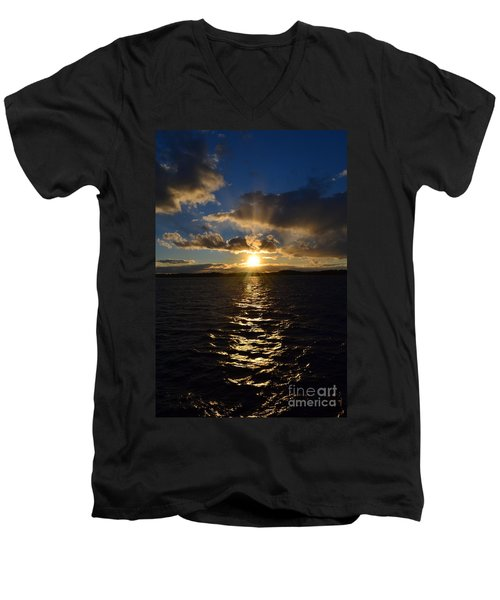 Sunset Over Winnepesaukee Men's V-Neck T-Shirt by Kevin Fortier