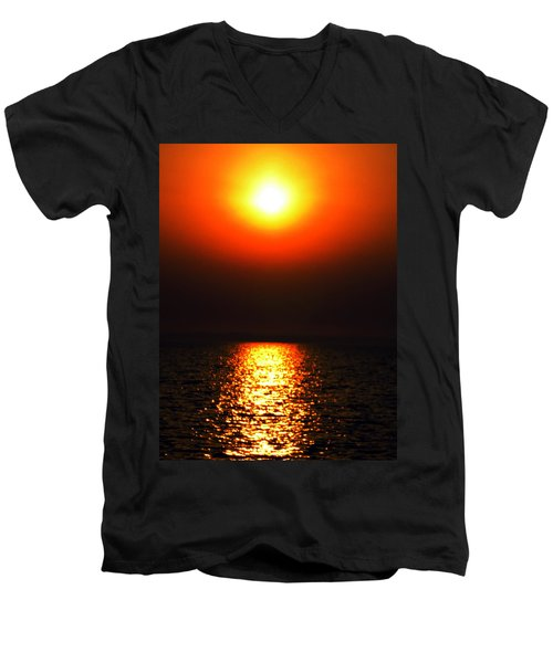 Men's V-Neck T-Shirt featuring the photograph sunset Santorini Greece by Colette V Hera  Guggenheim