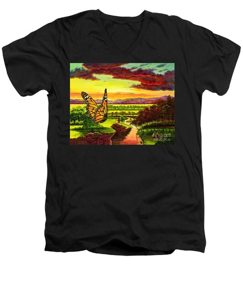 Sunshine Traveler-monarch Men's V-Neck T-Shirt