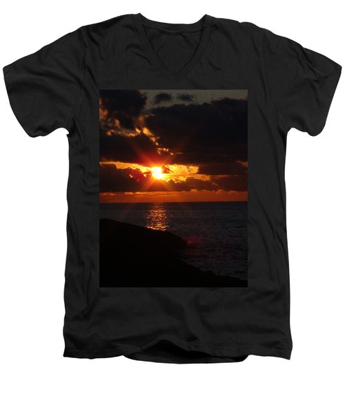 Men's V-Neck T-Shirt featuring the photograph Superior Sunset by Bonfire Photography