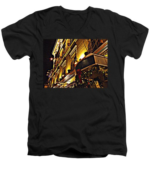 Men's V-Neck T-Shirt featuring the photograph Swans Hotel by Marilyn Wilson