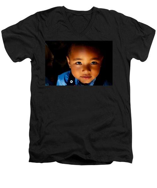 Sweet Baabu Men's V-Neck T-Shirt by Valerie Rosen
