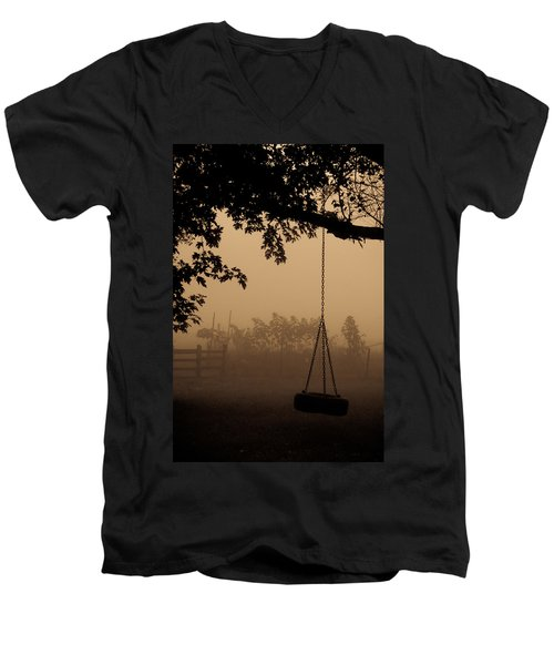 Men's V-Neck T-Shirt featuring the photograph Swing In The Fog by Cheryl Baxter