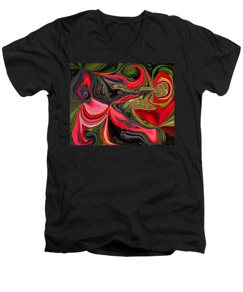 Swirled Garden 1 Men's V-Neck T-Shirt by Renate Nadi Wesley