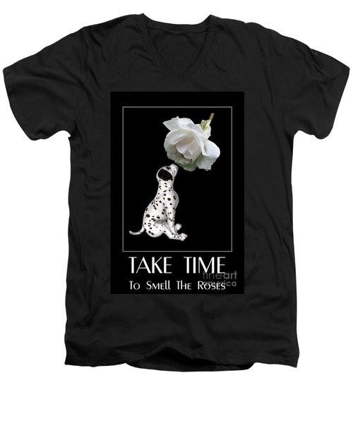 Men's V-Neck T-Shirt featuring the digital art Take Time To Smell The Roses by Smilin Eyes  Treasures