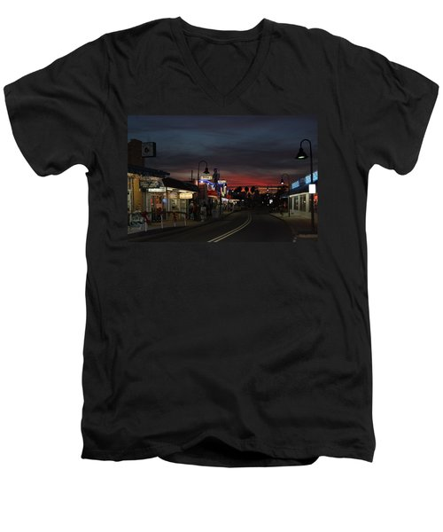 Men's V-Neck T-Shirt featuring the photograph Tarpon Springs After Sundown by Ed Gleichman