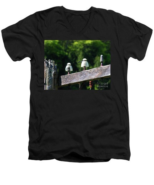 Men's V-Neck T-Shirt featuring the photograph Telephone Pole And Insulators by Sherman Perry