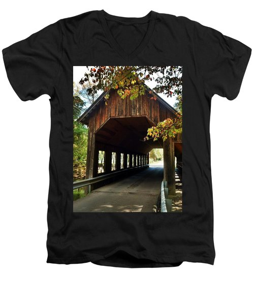 Men's V-Neck T-Shirt featuring the photograph Tennesse Covered Bridge by Janice Spivey