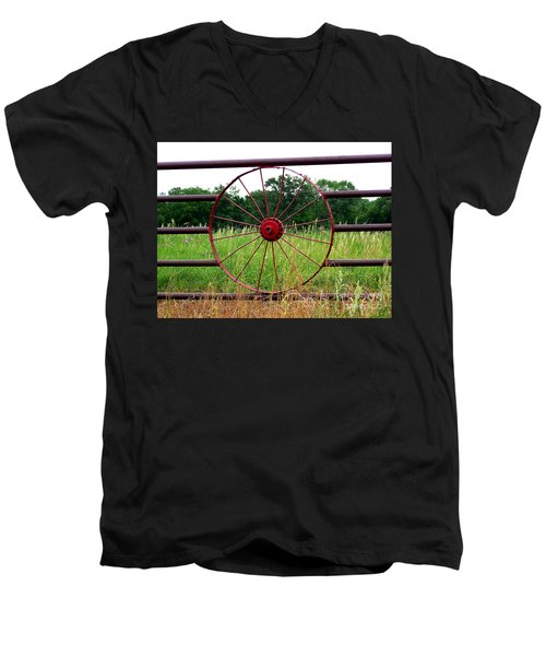 Men's V-Neck T-Shirt featuring the photograph Texas Wildflowers Through Wagon Wheel by Kathy  White