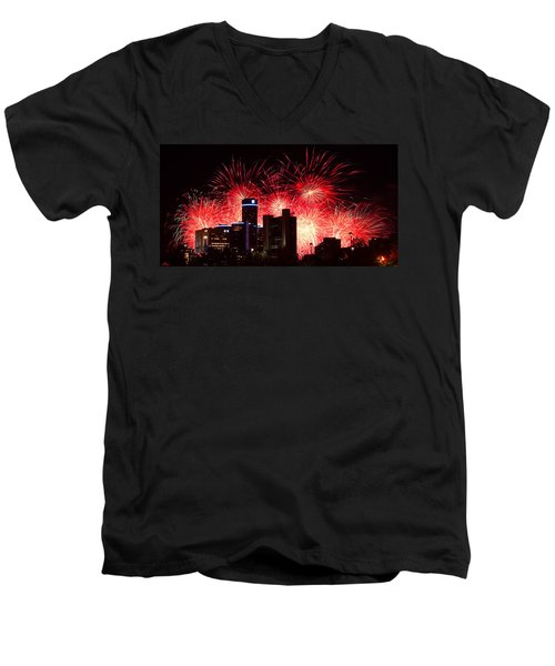 Men's V-Neck T-Shirt featuring the photograph The 54th Annual Target Fireworks In Detroit Michigan - Version 2 by Gordon Dean II