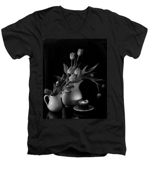 Men's V-Neck T-Shirt featuring the photograph The Beauty Of Tulips In Black And White by Sherry Hallemeier