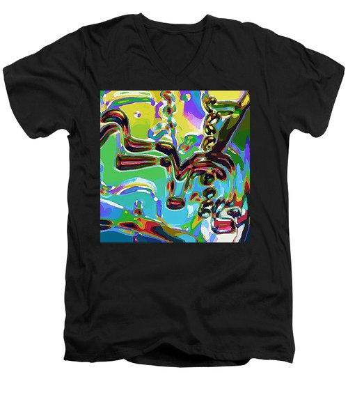 The Bull Fighter Men's V-Neck T-Shirt by Alec Drake
