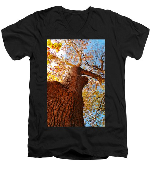 Men's V-Neck T-Shirt featuring the photograph The Deer  Autumn Leaves Tree by Peggy Franz