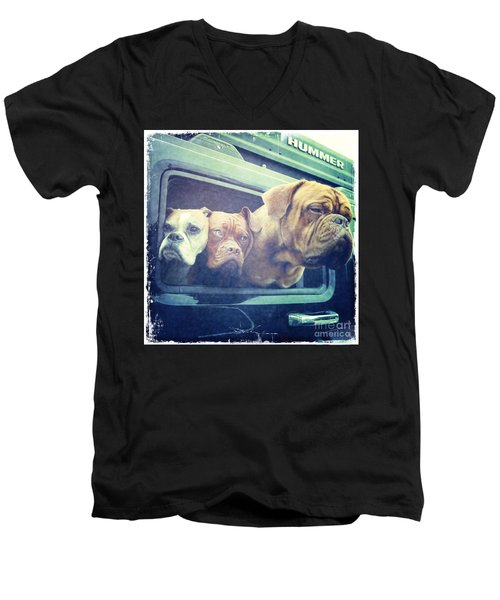 The Dog Taxi Is A Hummer Men's V-Neck T-Shirt by Nina Prommer