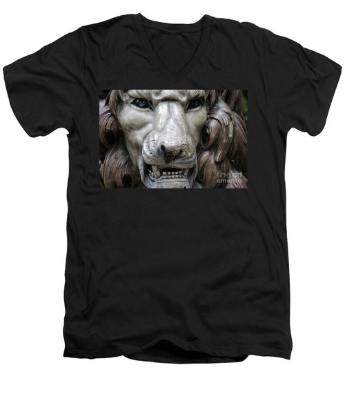 Men's V-Neck T-Shirt featuring the photograph The Fierce Lion  by Kathy  White