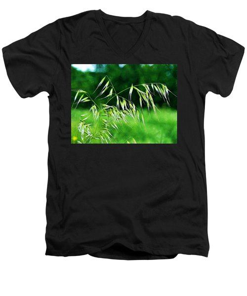 Men's V-Neck T-Shirt featuring the photograph The Grass Seeds by Steve Taylor