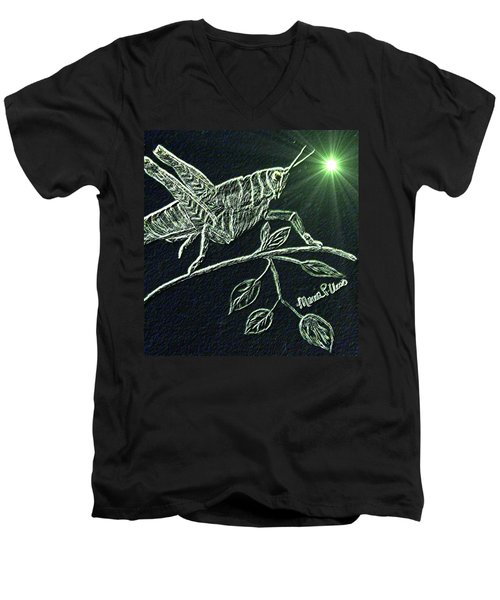 Men's V-Neck T-Shirt featuring the drawing The Grasshopper by Maria Urso