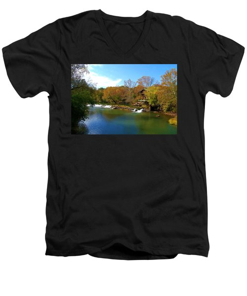 Men's V-Neck T-Shirt featuring the photograph The Grist Big River by Peggy Franz