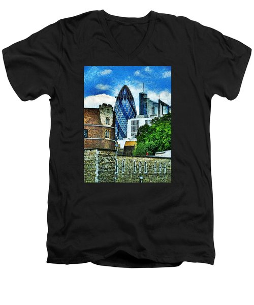 The London Gherkin  Men's V-Neck T-Shirt