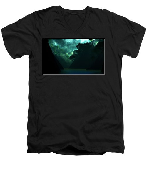 Men's V-Neck T-Shirt featuring the digital art The Majesty... by Tim Fillingim
