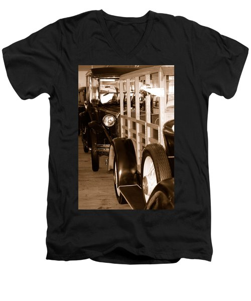 The Old Line Up Men's V-Neck T-Shirt by Holly Blunkall