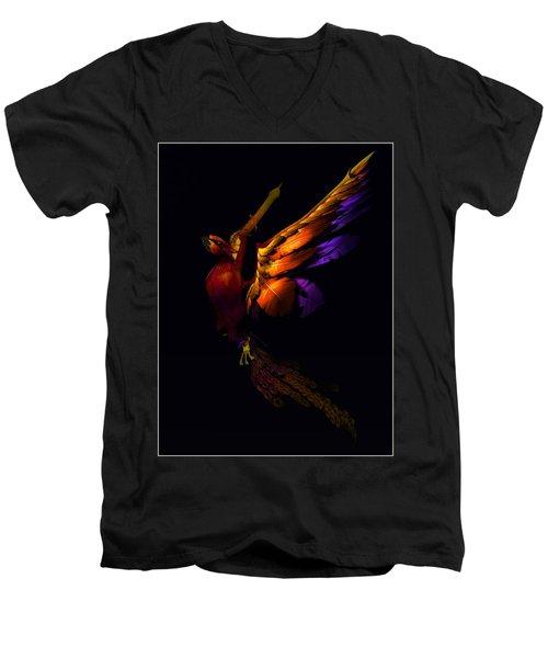Men's V-Neck T-Shirt featuring the digital art The Phoenix Rising... by Tim Fillingim