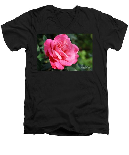 Men's V-Neck T-Shirt featuring the photograph The Pink Rose by Fotosas Photography