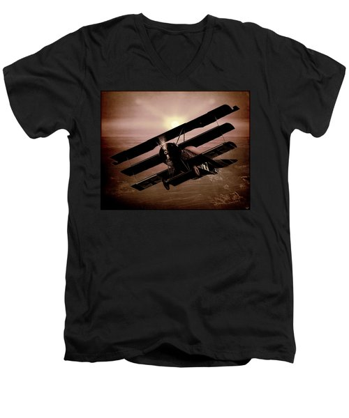 Men's V-Neck T-Shirt featuring the photograph The Red Baron's Fokker At Sunset by Chris Lord