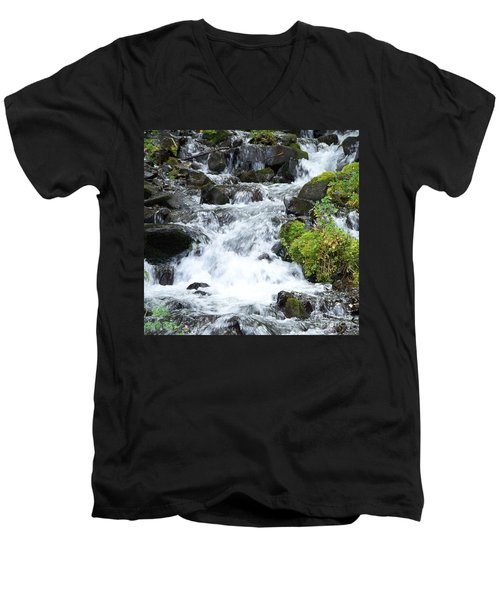 Men's V-Neck T-Shirt featuring the photograph The Roadside Stream by Chalet Roome-Rigdon
