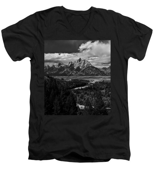 The Tetons - Il Bw Men's V-Neck T-Shirt