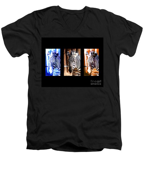 Men's V-Neck T-Shirt featuring the photograph The Three Zebras Black Borders by Rebecca Margraf