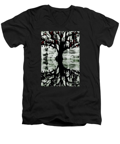 Men's V-Neck T-Shirt featuring the painting The Tree The Root by Amy Sorrell