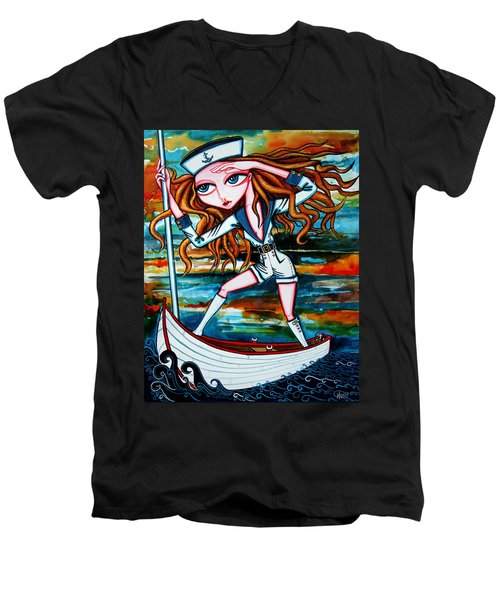 Men's V-Neck T-Shirt featuring the painting The Voyager by Leanne Wilkes