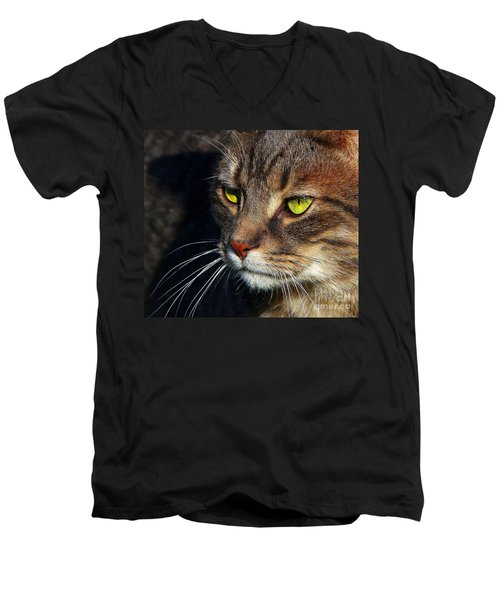Men's V-Neck T-Shirt featuring the photograph The Watcher by Davandra Cribbie