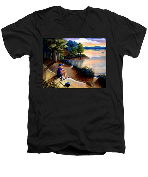 The Wish To Fish Men's V-Neck T-Shirt