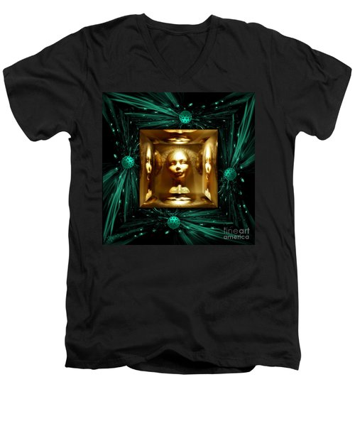 Men's V-Neck T-Shirt featuring the digital art Thoughts Mirror Box by Rosa Cobos