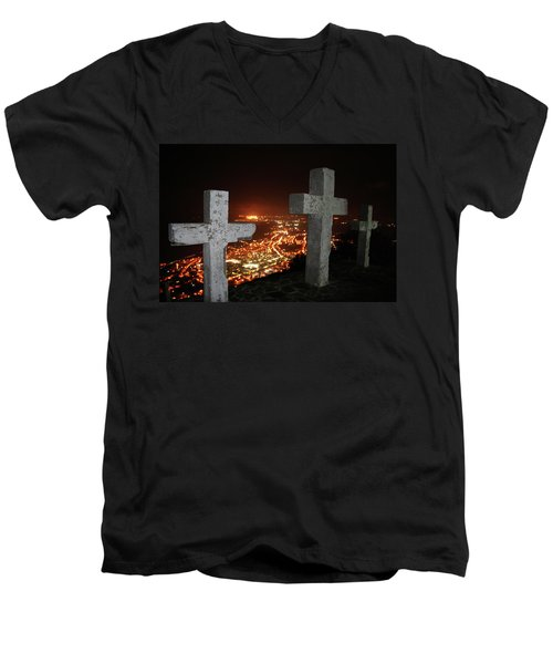 Three Crosses Men's V-Neck T-Shirt