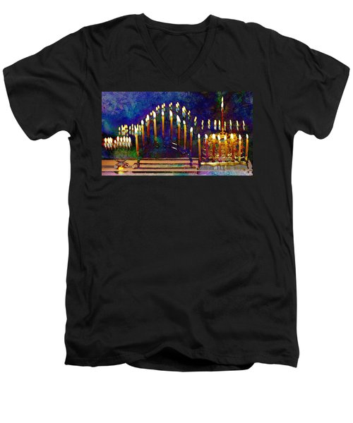 Three Menorahs Men's V-Neck T-Shirt