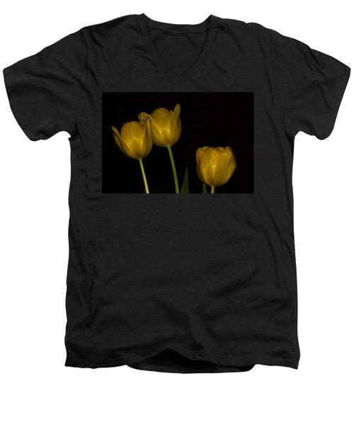 Men's V-Neck T-Shirt featuring the photograph Three Tulips by Ed Gleichman