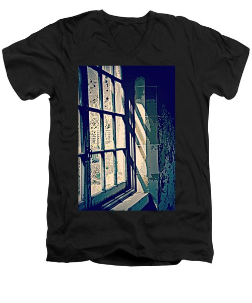 Men's V-Neck T-Shirt featuring the photograph View Through The Window - Painterly Effect by Marilyn Wilson