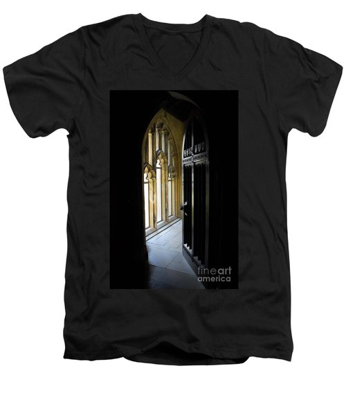 Thru The Chapel Door Men's V-Neck T-Shirt by Cindy Manero